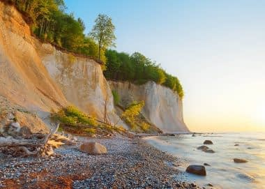 Pirate bay, Limestone coast, Chalk cliff, European beech (Fagus sylvatica) & Baltic Sea. Ruegen, Jasmund National Park, Ancient Beech Forest UNESCO Heritage Site, Germany